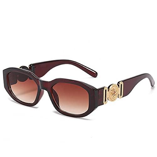 Gafas De Sol Gafas De Sol Pequeñas Steam Punk para Mujer, con Personalidad A La Moda, Gafas De Sol Cuadradas Clásicas para Mujer Y Hombre, Gafas De Té