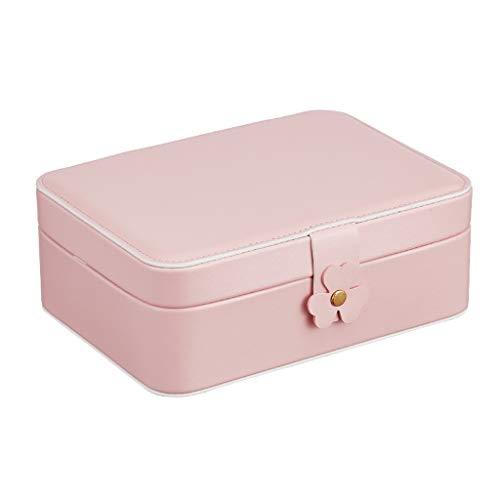 LICHUAN Caja Joyero Caja de joyería, Anillo de la Caja de almacenaje Collar, joyería del Recorrido del almacenaje Caja de Color Rosa, Azul Organizador de Joyas (Color : Pink)
