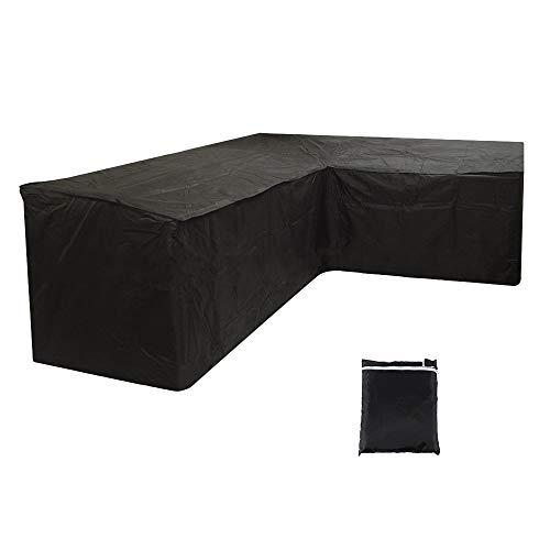 Funda de sofá esquinero de jardín, impermeable, lona de protección para salón, en forma de L, anti UV, para muebles exteriores, para jardín, terraza (300 x 300 x 98 cm), color negro