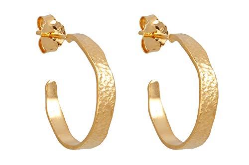 Pernille Corydon Creolen Gold Damen - Gehämmert mit Stecker Hinten Offen Silber 925 Vergoldet - E209g