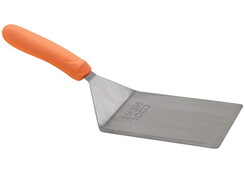 Winco TNH-63, 5'' x 6'' Stainless Steel Turner with Cutting Edge, Offset and Orange Nylon Handle, Food Spatula, Omelette Turner