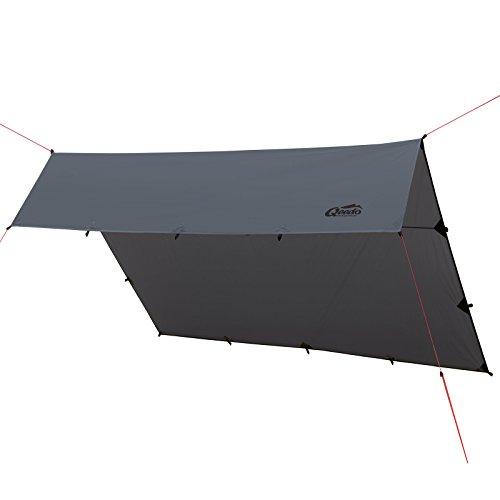 Qeedo Trekking Tarp Smart Tarp 3 x 3 m, Sonnensegel, Vielseitig, Leicht, Robust, Schnell Aufbaubar, Stabil, Camping Tarp