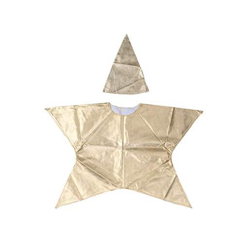 Amosfun disfraz en forma de estrella para niños disfraz de navidad traje de estrella con sombrero fiesta de navidad para niños (dorado)