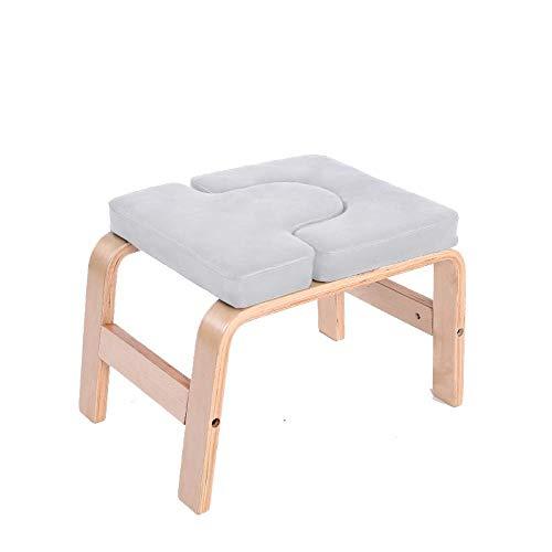 CURVEASSIST Pilates Kopfstand Bank U-förmig-Buche-PU Yoga Hocker Multifunktionale Hilfs-Inverted-Fitness-Stuhl Praktische Heimausrüstung Grau,Grey-OneSize