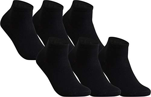 Vitasox 43015 Damen Herren Kurzsocken Bambus Sneakersocken einfarbig ohne Naht schwarz 6er Pack 35/38