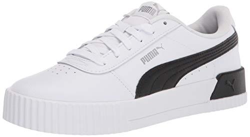 PUMA Carina Sneaker para mujer, blanco (Puma White-puma Black-puma Plata), 38 EU