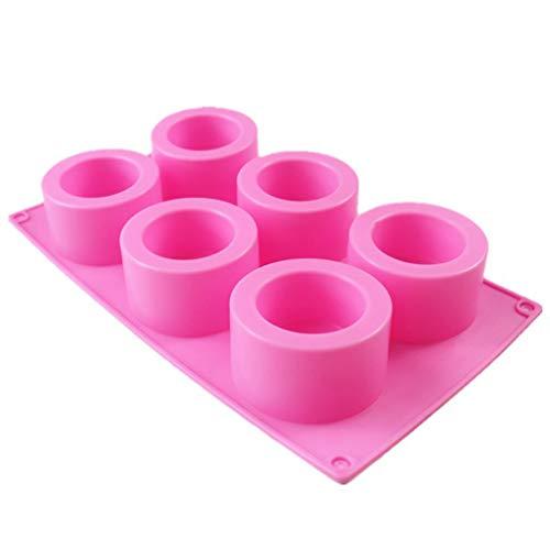 Baiyao Molde de silicona para resina, 6 cavidades hechas a mano, bandeja de hielo redonda de silicona para botellas de chupito