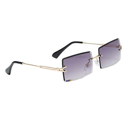 freneci Retro Rechteck Sonnenbrillen für Frauen & Männer, Randlose Sonnenbrille,Gradient Kleine Quadrat Gläser Randlose Getönt Objektiv Brillen UV400 - Grau