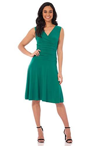 Rekucci Women's Slimming Sleeveless Fit-and-Flare Tummy Control Dress (10,Lagoon)