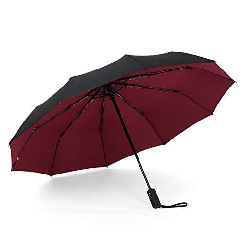 PPGG paraplu's 10 ribben drie vouwen paraplu voor dubbele laag volledig automatische paraplu mannen business sterke winddicht zonnig en regen paraplu's wijn rood