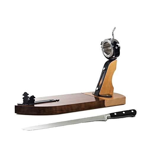 Porta prosciutto spagnolo professionale girevole in legno + coltello da taglio...