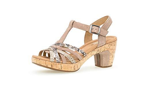 Gabor Damen Sandalen, Frauen Sandaletten,Comfort-Mehrweite, Absatz feminin Damen Frauen weibliche Lady Ladies Women,Rabbit/beige(Kork),39 EU / 6 UK