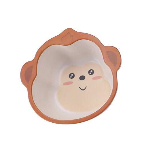 KINGBOO Bamboo Fiber Kids Bowl,Cute Animal Shape Toodler Baby's Dinner Cutlery Feeding Dish Bowl Monkey