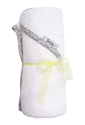 Extra Large Absorbent Hooded Towel,'40X30', Solid White with Swirl Print, Frenchie Mini Couture