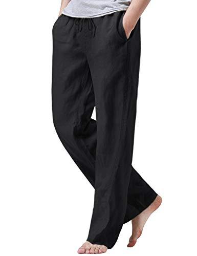 iWoo Mens Elastic Waist Pants for Seniors Summer Pants Soft Linen Pants Black L
