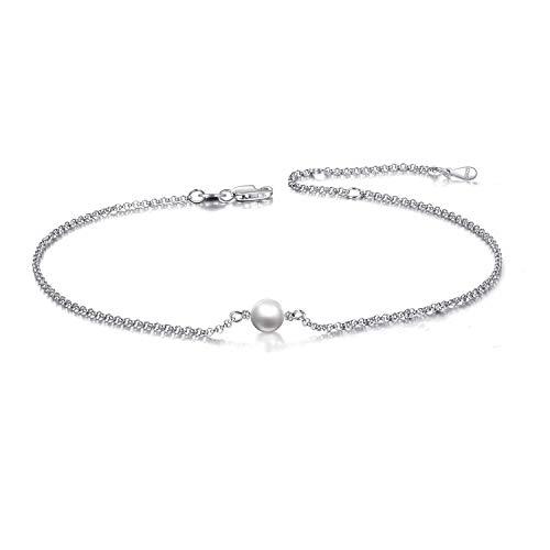 Pulsera tobillera de perlas para mujer de plata de ley S925 Boho ajustable