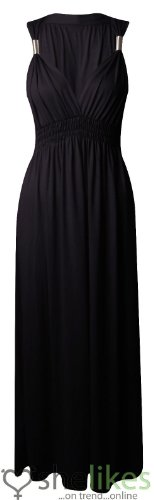Outofgas Womens Sleeveless Spring Coil Maxi Dress Ladies Long Jersey Stretch Maxi Dress