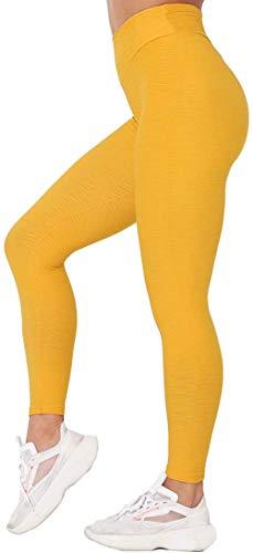 TIK Tok Leggings- Leggings de yoga de cintura alta para mujer, con control de barriga, levantamiento de glúteos, anticelulitis, mallas texturizadas, # 3, amarillo, XL