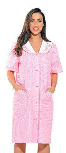 8511-Coral-3X Dreamcrest Short Sleeve Duster / Housecoat / Women Sleepwear,Coral,3X Plus