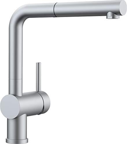 Blanco Linus-S HD Küchenarmatur - Einhebelmischer mit ausziehbarer Schlauchbrause, metallische Oberfläche, chrom matt, Hochdruck, 1 Stück, 512403