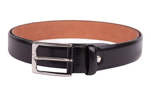 Handmacher Leder-Gürtel für Herren in Hochglanz Schwarz, aus Kalbsleder, Länge 95 cm