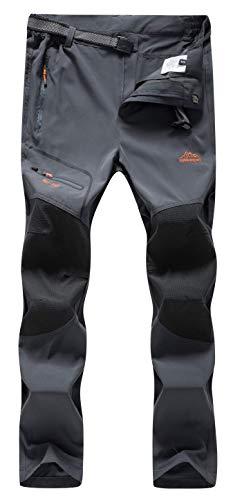 DAFENP Damen Wanderhose Outdoorhose Wasserdicht Softshellhose Sommer Atmungsaktiv Schnell Trockend Leicht Trekkinghose (L, A Grau)