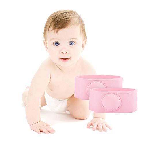 Cinturón de hernia para bebé, 2 piezas Cinturón de hernia Tratamiento de terapia de hernia Niños Cinturón de hernia umbilical para bebés(Rosado)