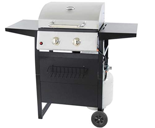 RevoAce 2-Burner 24,000 BTU LP Gas Grill with Push-Button Ignition and Condiment Rack, Stainless Steel