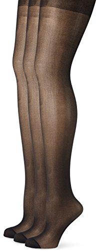 Ulla Popken Strumpfhose, 3er Helanca Collants, 20 DEN, Noir (Schwarz 10), X-Large (Taille Fabricant: 48+) Femme