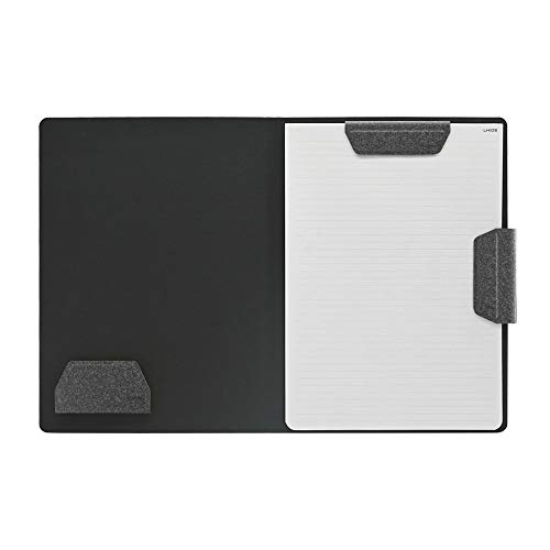 LHiDS MagEasy Organizador magnético para portafolios de negocios, carpeta A4 con portapapeles, sujetapapeles, bloc de notas, bolígrafo/tarjetero, cierre magnético para uso diario, Negro Obsidiana