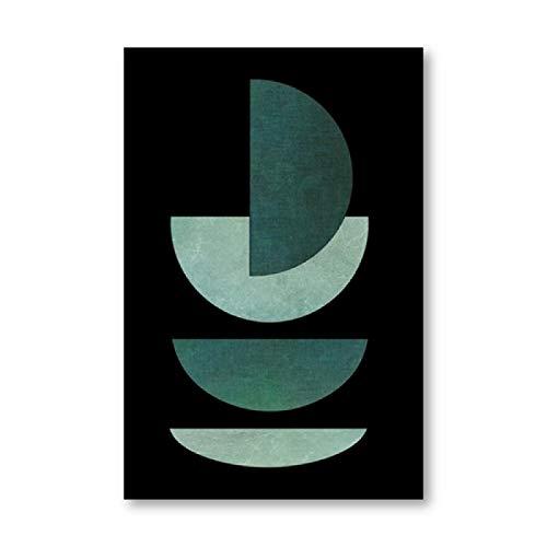 Póster verde esmeralda impreso abstracto geométrico arte de la pared mediados de siglo moderno lienzo pintura para sala de estar decoración del hogar 50 x 70 cm sin marco