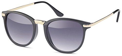 Vintage Sonnenbrille im angesagten 60er Style mit trendigen bronzefarbenden Metallbügeln Panto - Retro Brille (schwarz-gold-Verlauf)