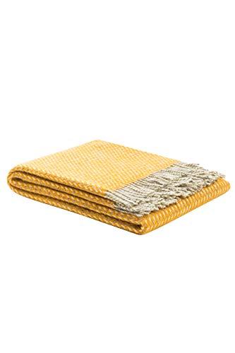 LANEROSSI Wooldecke Braies S, 130x170 cm, ideal als plaid oder Kuscheldecker für Sofa, orange
