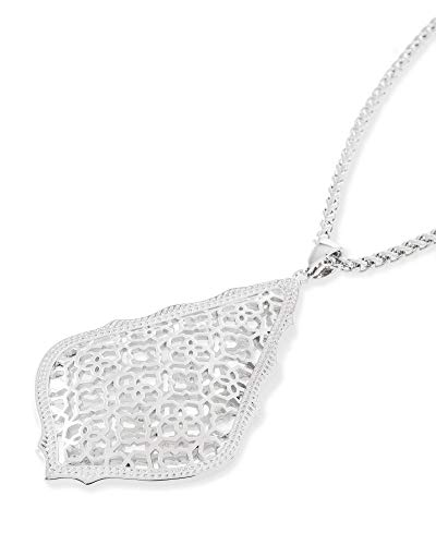 Kendra Scott Aiden Pendant Necklace for Women in Filigree, Fashion Jewelry, Rhodium-Plated