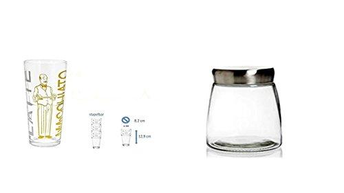 James Premium kaffeedose luftdicht 1kg bohnen + 2 Latte Gläsern