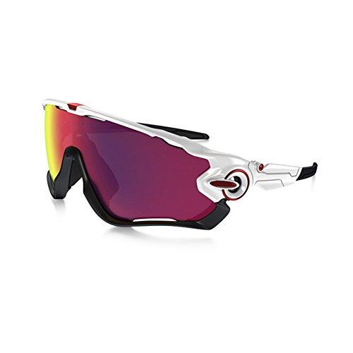 AOKNES Occhiali da Sole polarizzati Sportivi con 2 Lenti intercambiabili per Uomo su Strada, Mountain Bike, Ciclismo, Ciclismo, Protezione UV400, Uomo, Bianco/Nero