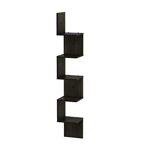 Greensen Corner Shelf Bookcase Wooden High Shelf with 4 Shelves Ladder Shelf in Industrial Design Floor Shelf with Metal Frame Filing Shelf Corner Vintage Decorative Shelf for Living Room Office