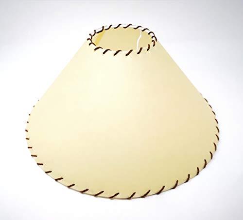 Pantalla de tela para lámpara de pie (forma cónica, diámetro inferior de 35 cm, borde con hilos marrones)