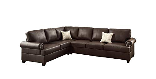 Poundex F7770 Bobkona Cady Bonded Leather Left or Right Hand Reversible Sectional, Espresso