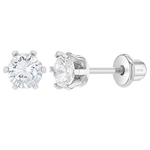 In Season Jewelry - 925 Plata de Ley Circonita Clara Redondo Conjunto de Aretes con Cierre de Rosca para Niñas 4mm