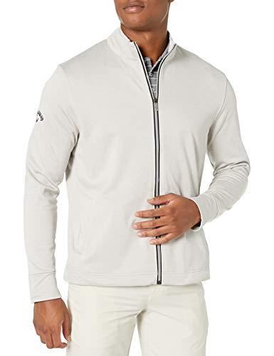 Callaway Men's Golf Full Zip Long Sleeve Waffle Knit Fleece Jacket, High Rise Heather, X-Large