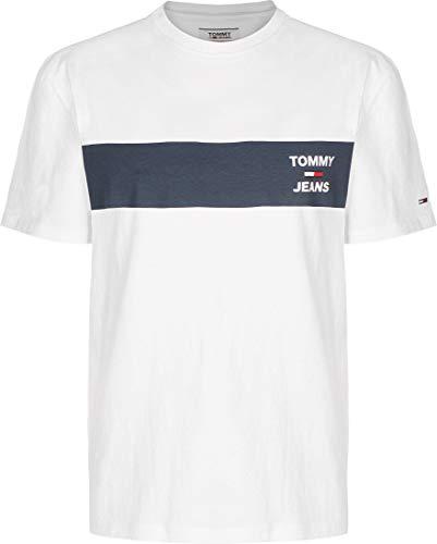 Tommy Jeans Tjm Chest Stripe Logo Tee Camicia Sportiva, Bianco (White Ybr), Small Uomo
