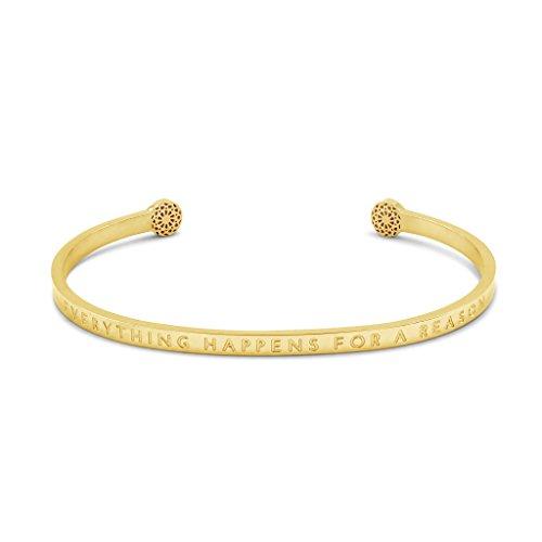 Simple Pledge - Everything Happens for a Reason - Blind - Armreif in Gold mit Gravur für Damen