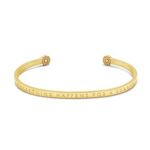 Simple Pledge - Everything Happens for a Reason - Blind - Armreif in Gold mit Gravur für Damen
