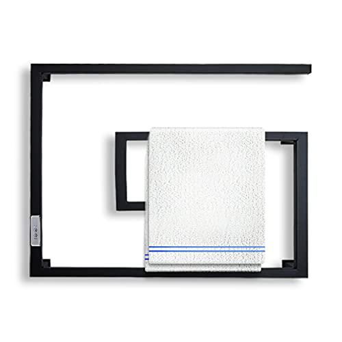 HDLWIS Radiador Toallero Electrico, Secador de Toallas Electrico Baño, 4 Barras de Rejilla de Secado de Toallas Inteligente de Temperatura Constante, Temporizador Incorporado 2/4H, Negro Esmerilado