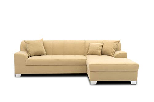 DOMO Collection Capri Ecksofa | Eckcouch in L-Form, Polsterecke Sofa Garnitur, beige, 239x152x75 cm