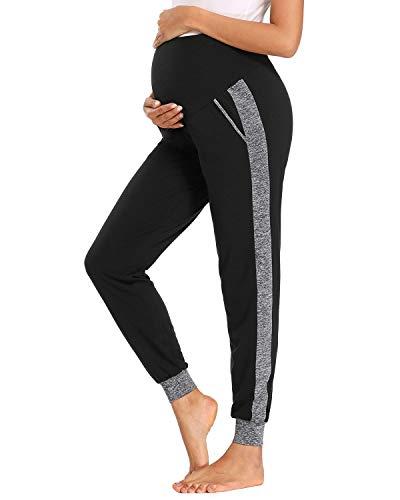 Love2Mi Freizeithose für Schwangere, Umstands Schwangerschaft Hose Bequeme Stretch Jogginghose