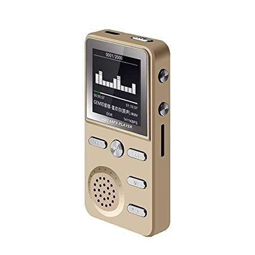 Reproductor De Mp3 Reproductor de MP3 HiFi sin pérdida MP3 Música Música Multifunción FM Reloj Grabador de Reloj ROTYLY Stereo Jugadores (Color : Gold, Memory Size : 16GB)