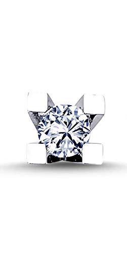 Pendientes solitarios de oro blanco de 14 quilates con diamantes de 0,12 quilates