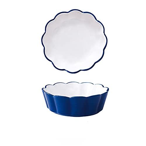Serie Regular, Juego De Cuenco De Piezas Vajilla De Porcelana De(Size:15X5CM,Color:Azul oscuro (sin flor))